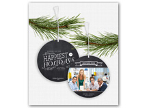 Chalkboard Greetings Photo Ornament Holiday Card